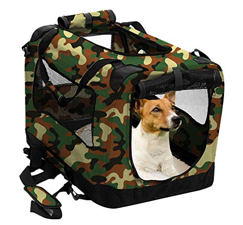2PET Faltbare Hundebox - weich, einfach zu Falten, für den Innen- und Außenbereich geeignet - Bequeme Hunde- und Hundereisekiste - robuster Stahlrahmen, waschbarer Stoffbezug, Large 28in, Tarnmuster