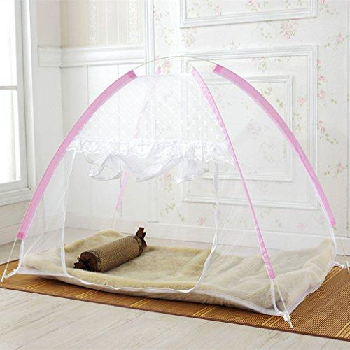 LI LU SHOP Installation Gratuite de moustiquaires repliables pour bébés (Couleur : Rose, Taille : with Bottom 70 * 120cm)