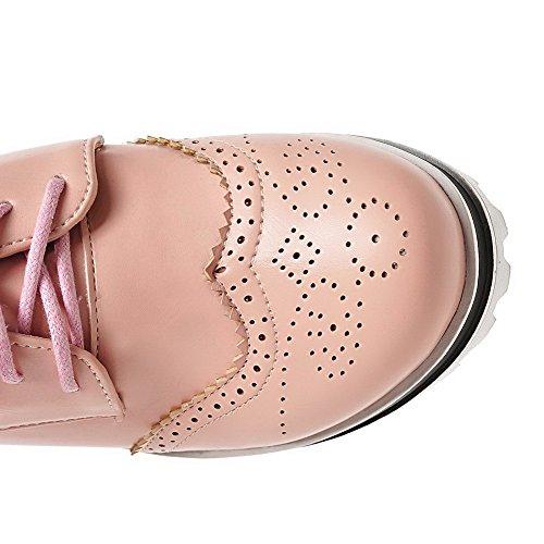 AllhqFashion Femme Lacet Rond à Talon Haut Pu Cuir Couleur Unie Chaussures Légeres Rose