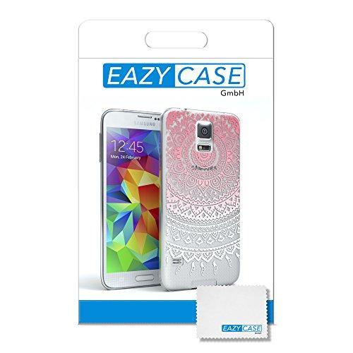 Samsung Galaxy S5 / S5 Neo Hülle - EAZY CASE Handyhülle - Ultra Slim Glitzer Schutzhülle aus Silikon in Pink Henna Pink / Weiß