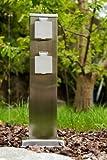 Eckige Aussensteckdose aus Edelstahl - Steckdose fur aussen mit 4 Schuko Stecker Eingängen