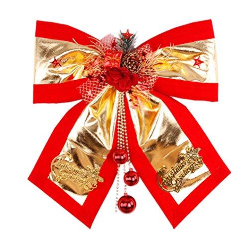 Hunpta Christmas Ribbon großen roten Schleife Perle Dekoration Geschenk Ornament FROHE WEIHNACHTEN (Rot A)