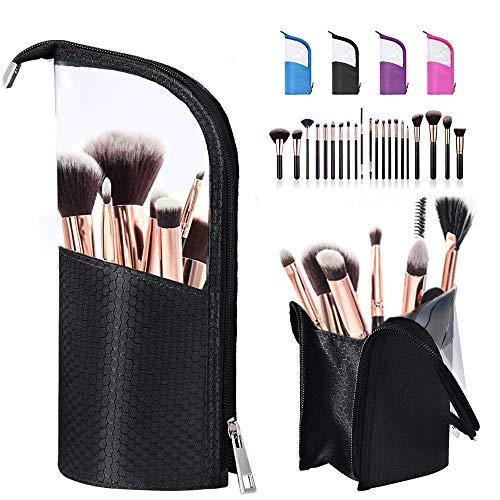 BeeViuc Klar Makeup Pinsel Taschen Make Up Pinsel Halter Travel Make-up Pinsel Tasche Kosmetik Organizer für Reise Tragen - Schwarz -