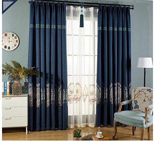 MFFACAI Vorhang Retro Stickerei Blumen Schattierung Stoff Wohnzimmer Schlafzimmer Deckenhohe Fenster Vorhang Fertiges Produkt Blau Eine Scheibe Bohrabschnitt, Width 2 x high 2.7 (Punching Type) -