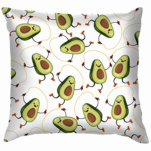 beautiful& Avocado On White Throw Pillow Case Cushion Cover Pillowcase Watercolor for Couch 18X18 Inch