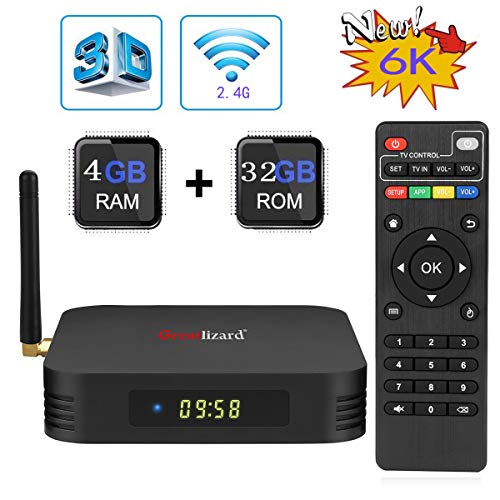 Android 9.0 TV Box, Greatlizard TX6 Android Box 4GB RAM 32GB ROM Quad Core 1080p 4K 6K 3D HDR 2.4G WiFi Smart TV Media Box