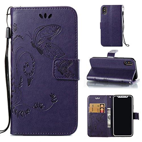 Coffeetreehouse iphone X Coque Fleur et Papillon Motif PU Lanyard Cuir Flip Housse Étui Cover Case Wallet Portefeuille Supporter avec Carte de Crédit Fentes pour iphone X - rouge violet