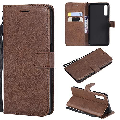 Artfeel Flip Brieftasche Hülle für Samsung Galaxy A7 2018/A750, Premium PU Leder Handyhülle mit Kartenhalter,Retro Bookstyle Stand Abdeckung mit Magnetverschluss Handschlaufe Schutzhülle-Braun -