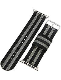 42 mm de la NATO correas de reloj de estilo de lona de nylon de los hombres militares negro/gris de alta calidad correas para Apple Watch