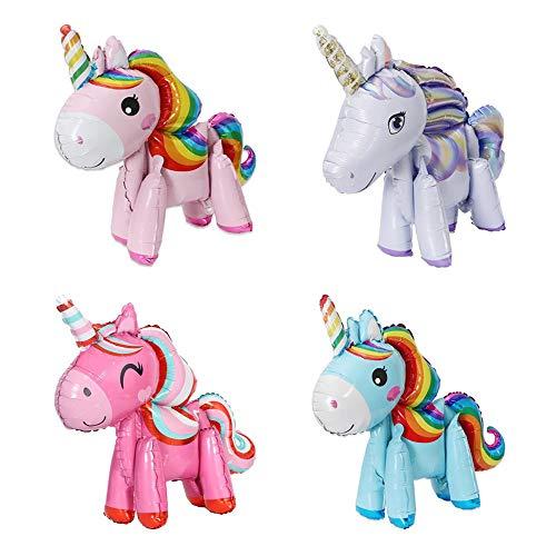 X-BLTU 4 Pack 3D Globos de Unicornio, Regalo de los niños de los niños del Globo de la Hoja de la Fiesta, Boda De Juguetes, Fiesta De Cumpleaños Suministros de decoración de Ducha de bebé