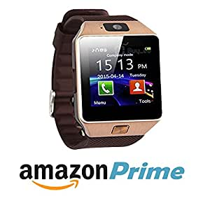 Eye Catching Smart Watch With Whats app& notification of messages, missed call and all essential apps. DZ09 (Gold Brown) Compatible with Micromax G4