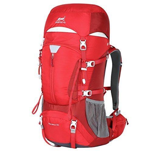 E-show Eshow Trekkingrucksäcke Wanderrucksäcke Reiserucksack für Reisen Wandern und Bergsteigen Wasserdicht Ultraleicht 50L 31*60*23 mit Regenabdeckung, Rot