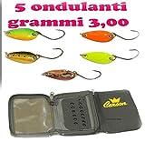 Carson Kit 5 ONDULANTI GR 3 + Astuccio Porta Artificiali Spinning Pesca Trota Lago