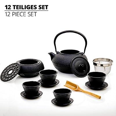 Lumaland Service à thé en fonte de tradition asiatique: 12 ou 8 pièces, bouilloire, chauffe et soucoupes