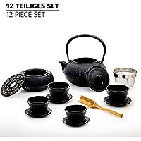 Lumaland Tee Set 12-teilig - 1,4 Liter Gusseiserne Teekanne, Stövchen, Dosierlöffel, Sieb, 4 Teebecher und 4 Untersetzer