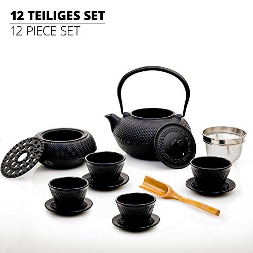 Lumaland Tee Sets aus Gusseisen 1,4 Liter Teekanne, Stövchen, Dosierlöffel, Sieb, Teebecher und Untersetzer