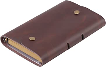 Semme Leather Refillable Notebook, Travelers Journal Diary Notebook Multi-use DIY Notebook A6 Genuine Leather Diary Journal Spiral Loose Notepad