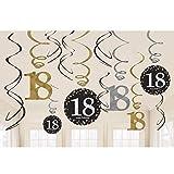 Amscan Riesen Girlande 18 Geburtstag PVC Swirl Spiralen Schwarz Gold 12er Dekoset