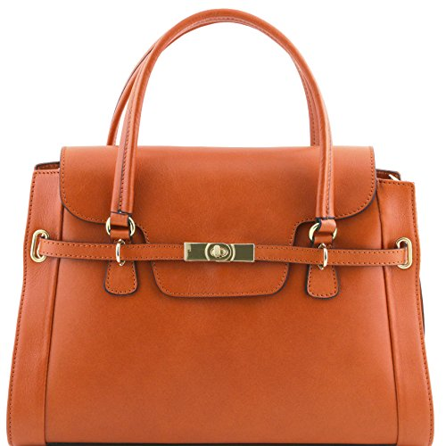 Tuscany Leather - TL NeoClassic - Sac à main en cuir avec fermoir twist Rouge - TL141230/4 Miel