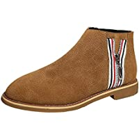 Stiefel Damen Vintage, Sonnena Frauen Bequem Lederstiefel Flach Boden  Knöchel Boots Schuhe Casual Zipper Stiefel be62d95299