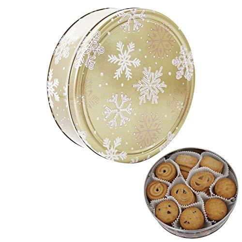 Becky´s Danish Butter Cookies/Dänische Butter Kekse - Gebäck in Goldener Dose mit Schneeflocken - 454 g