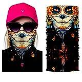 inGun Tour de Cou Multifonction Logo Tête de Mort Design en Polyester Skull Cache Cou Foulard Écharpe pour Motards ou Airsoft Masque Chapeaux Bandana Bandeaux Masque Moto (Indian Skull)