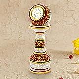 #10: The Gift House Gold Painted Meenakari Work Marble Pillar Watch 373