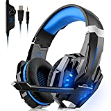 Willnorn Gaming Headset für PS4 Xbox One PC, 3.5mm Kabelgebundenes Kopfhörer Headset mit Mikrofon, LED-Licht Bass Surround, Aluminiumgehäuse für Laptop, Smartphone, Nintendo Switch Spiele (Blue)