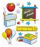 Stickerkoenig 3D Sticker XXL Wandtattoo Kinderzimmer Wandsticker - Schule Set #559 Schulanfang Schreibtisch Deko Schultüte