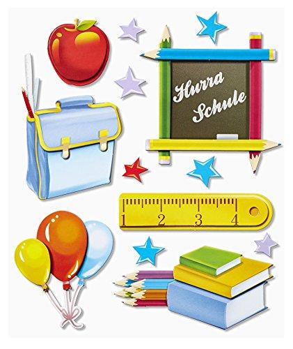 Preisvergleich Produktbild Stickerkoenig 3D Sticker XXL Wandtattoo Kinderzimmer Wandsticker - Schule Set #559 Schulanfang Schreibtisch Deko Schultüte