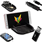 mobilefox® KFZ Anti-Rutsch Matte integr. Handy Halterung + Ladekabel Set für Huawei P20/Pro/P10/P9/Plus/Nova - Rutschfestes Auto Halter Pad