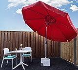 SORARA Sonnenschirm Parasol | Rot | Ø 300 cm/3m | Rund Palermo | Polyester 180 g/m² (UV 50+)| Kurbel & Pendel (excl. Base)