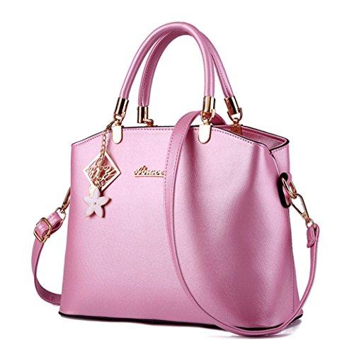 Donna Borse a Tracolla in Pelle PU Borse a Mano di Alta Capacità e Borse a Spalla Semplici e Elegante Blu reale Pink