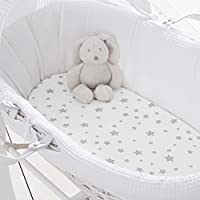 Silentnight Safe Nights Moses Basket Fitted Sheet, Grey Stars, Pack of 2 - ukpricecomparsion.eu