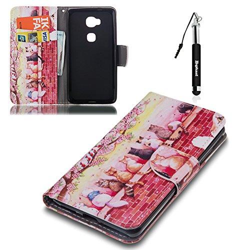 Honor 5X Hülle, Honor 5X Tasche Leder , Huphant Flip Case Leder [Painting Serie]PU Leather Case Wallet Case Magnet Case Book Case Schutzhülle Klappbar für Honor 5X(5,5 Zoll)+1X Schwarzer Stylus Touchscreen Pen - Cats on the Wall (Tasche Inc)