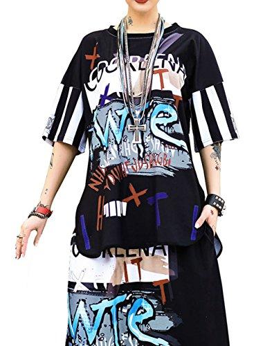 ELLAZHU Femme Eté T-Shirt Hipster HipHop Manche Courte Col Roulé Taille Unique GK127 Multicolore