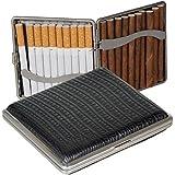 Zigarettenetui - Zigarilloetui Lederfinish schwarz 90mm mit Federscharnier inkl. Lifestyle-Ambiente Tastingbogen