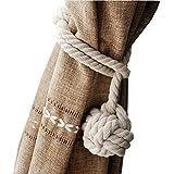 ULTNICE Mano punto cortina cuerda, cuerda del algodón Rural (Beige)