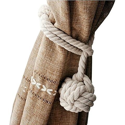 Embrasse Anneaux Pompon - WINOMO Main tricot Rideau corde coton Rural