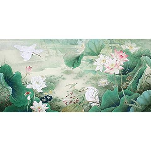 Lutos Pond. Dipinto Cinese. Dipinto Da Artista originale. Museo di qualità. Spedizione gratuita. montato su Scrolls per appendere. Scorrimento dimensioni circa 87x 43in., Same to the initial, 70x38