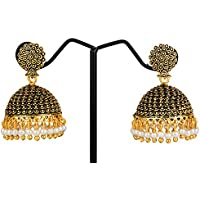 Samyra Metal Black Alloy Elegant Jhumka Jhumki Traditional Earrings For Girls And Women