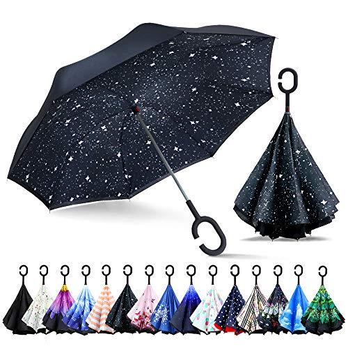 Zomake ombrello inverso antivento, ombrello reversibile con impugnatura c forma, dritta rod doppio strato invertito ombrelli per donna auto all'aperto(cielo di notte)