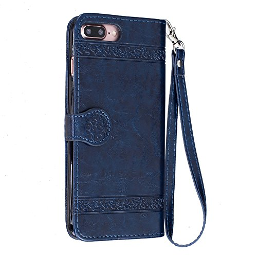 Custodia iPhone 6 Plus,Custodia iPhone 6S Plus Cover Puro Blu,Leweiany in Vera pelle Cuoio Custodia a Libro Portafoglio Wallet Flip Cover per iPhone 6S Plus,Premium Cover Elegante Rigida Belle Fiori R Blu
