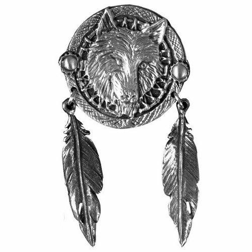 Premiumkollektion S Anstecknadel Wolf und Federn Indischen für Weste und Jacke