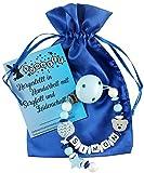 Personalisierte Schnullerkette mit Namen aus Holz für Jungen in Blau | verschiedene Designs verfügbar| perfektes Baby-Geschenk zur Geburt und Taufe (Design1)