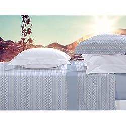 Juego de cama franela 100% algodón Manterol 453 color azul cama de 150