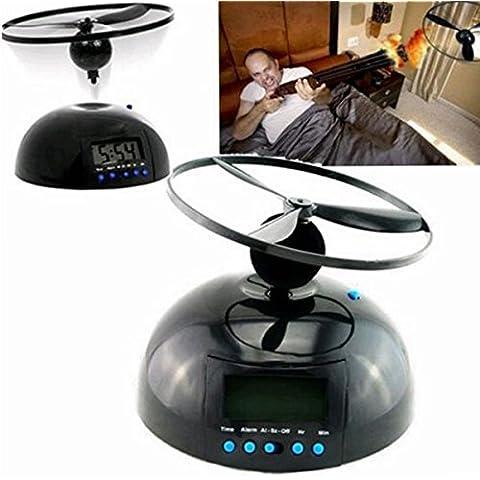 Bluelover Vuelo despertador Snooze LCD Digital reloj alarma OVNI helicóptero molesto despertador