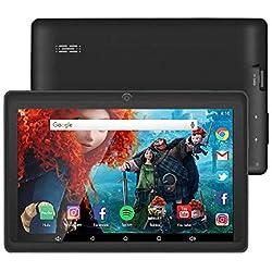 Tablet da 7 Pollici Google Android 8.1 Quad Core 1024x600 Dual Camera Wi-Fi Bluetooth 1GB/8GB Play Store Netfilix Skype 3D Game GMS Supportato con Certificazione di un Anno di Garanzia (Nero)