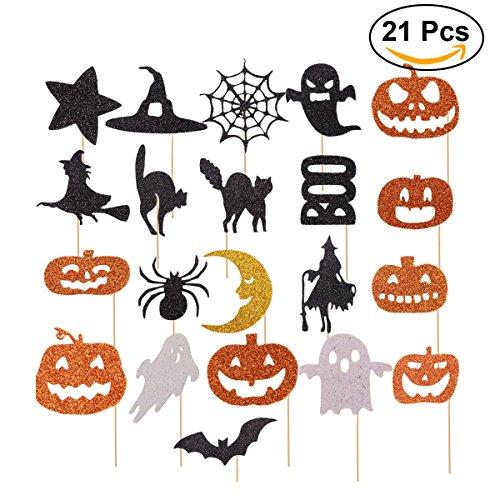 OUNONA Halloween Kuchen Toppers Cupcake Topper Picks für Halloween Kuchen Dekoration 21pcs (Cupcake Dekoration Für Halloween)