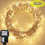 200 LED Lichterkette, Tomshine 23M Lichterkette für Innen und Außen, Strombetrieben mit EU Stecker, IP44 Wasserdicht, 8 Modi Dimmbar, Warmweiß Lichterkette für Party, Weihnachtsbeleuchtung